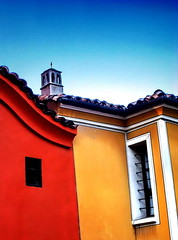 Whose is the chimney? (Emilofero) Tags: blue red chimney sky color colour window yellow bar contrast bars europe line bulgaria balkans plovdiv bulgarie balcans bulgarien        arshitecture   colourartaward