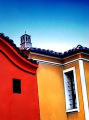 Whose is the chimney? (Emilofero) Tags: blue red chimney sky color colour window yellow bar contrast bars europe line bulgaria balkans plovdiv bulgarie balcans bulgarien        arshitecture   colourartaward