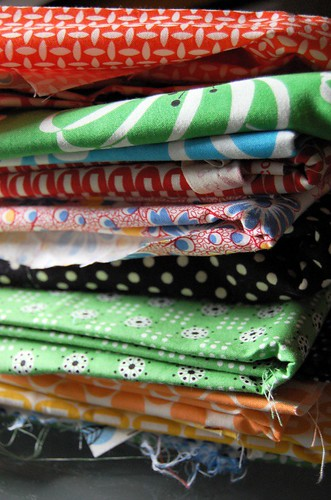quilt fabric pile