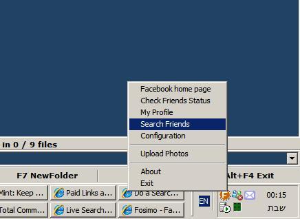Fosimo Search Friends Menu