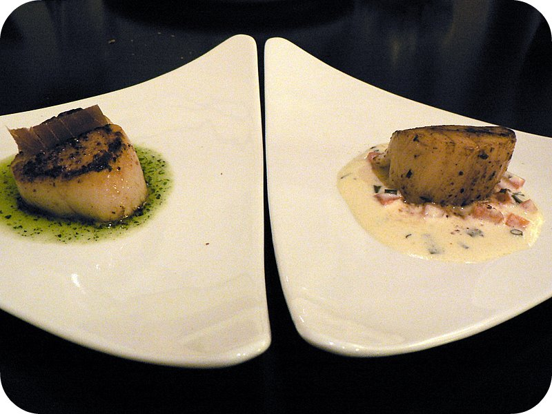 scallop with sundried tuna on pesto sauce and scallop with pernod sauce