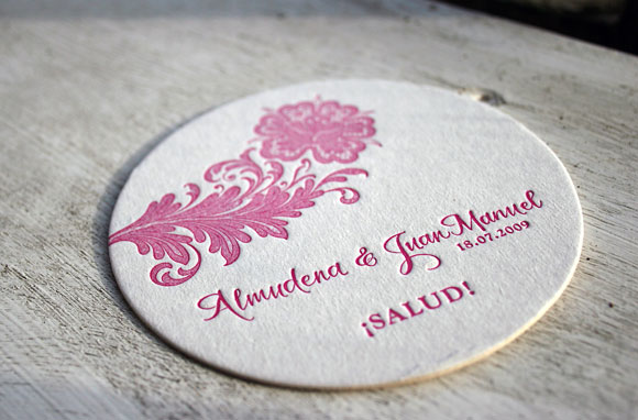 Nonpareil wedding letterpress coasters - Bella Figura