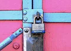 geometrically locked (Darwin Bell) Tags: pink blue lock master keyhole peopleschoice supershot supershots 30faves30comments300views superhearts colourartaward artlegacy quotidiae