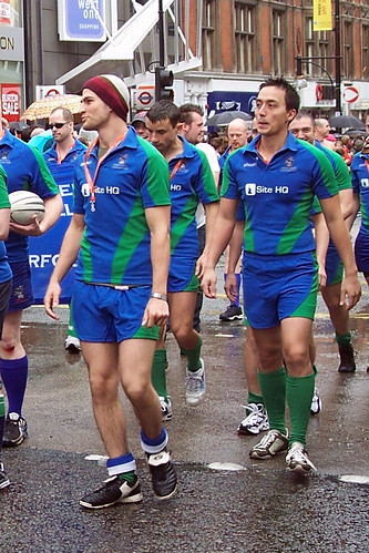 A gay rugby team on the parade at London Pride 2007