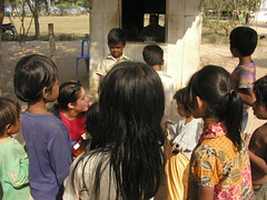 Teresa working with children in Cambodia