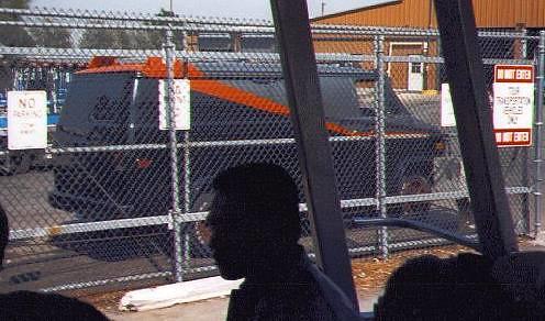 The van in a Universal Studios backlot.