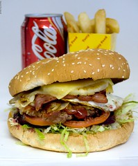 Hamburger with the lot meal at Metzis Tasty Takeaway (Vanessa Pike-Russell) Tags: food bestof australia hamburger nsw mostinteresting portfolio popular reviews 2007 myfaves illawarra shellharbour pc2528 mountwarrigal metzies metzistastytakeaway