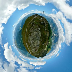 Up, up, and awaaay (Man) Tags: panorama mountains alps alpes austria tirol sterreich view 360 full handheld 360x180 spherical planetoid wenns hugin zams enblend littleplanet manuperez planetoids