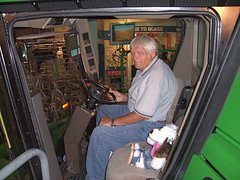 Dad and Jo in the combine