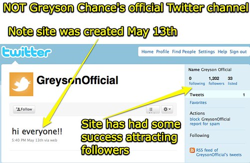 Not Greyson Chance's official Twitter site