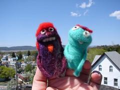 puppet friends! (moxie lieberman) Tags: wool felted puppet felting happiness needle needlefelting fiber studentwork bff fingerpuppet
