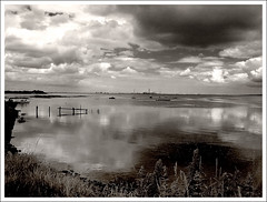 Still Waters (Finntasia old) Tags: bw reflection water clouds river kent estuary medway mywinners bwphotoaward finntasia boorswharf nigelfinn