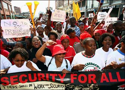 South African public sector workers during the strike in 2007. The COSATU trade union federation demonstrated again on July 16 and July 23, 2008 over the energy crisis in the country. by Pan-African News Wire File Photos