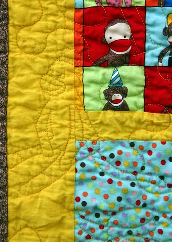 Monkey Quilting, detail, front