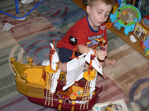 NHL plays with his Peter Pan pirate ship at home