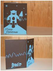 chrixtmas card (LukeHoward) Tags: christmas blue snow book snowman card press bound stitched abominable snowcat snowcatpress screenprintscreenprintillustrationsnowcatpresssnowcatpress