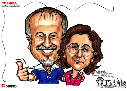 Caricature of Mr & Mrs Maan