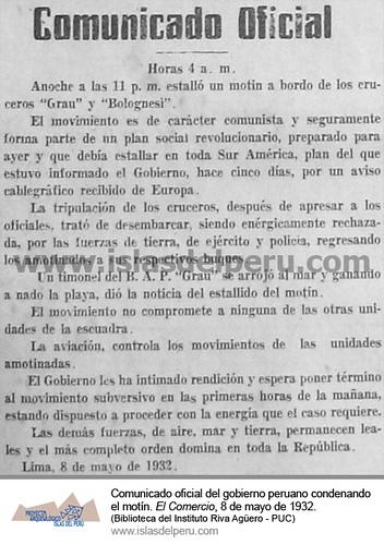 Comunicado oficial del gobierno peruano condenando el motín. El Comercio, edición del 8 de mayo de 1932