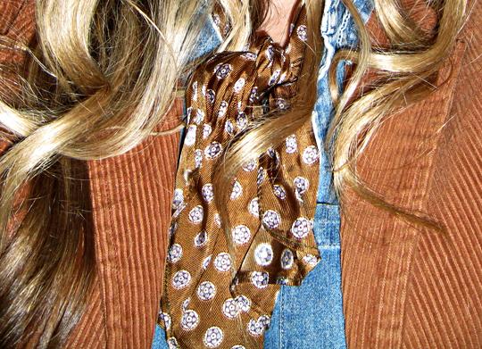 vintage curduroy blazer+vintage neck scarf+denim shirt+hair