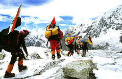 After a successful expedition, Kanchenjunga (sanjayausta) Tags: nepal camp india mountain snow reflection expedition nature landscape tents mt prayer flags tibet trekkers snowcapped hut glaciers summit pastoral everest base himalayas nomads moraine sherpas tibetian beauti mountaineers kanchenjunga clibing ramche clib