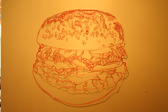 Ben Chickadel - hamburger (Tiny Haus) Tags: show shadow art paper gallery ben cut contemporary cuttings chickadel