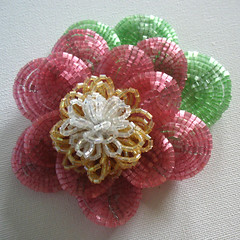 Beaded water lily flower (Eskimimi) Tags: flower beads seed bead satin hex beaded 2cut