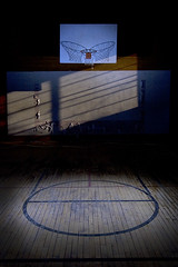 In the keyhole (Lost America) Tags: lightpainting abandoned basketball night fullmoon gym gymnasium