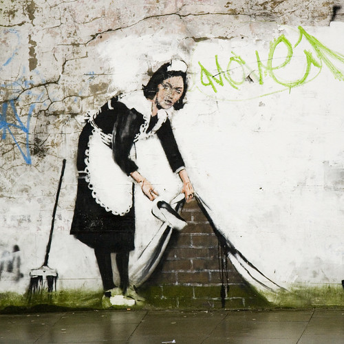 Banksy street cleaner, Chalk Farm