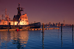 Loyal... (Light Knight) Tags: blue sunset newzealand water harbor harbour auckland filter tugboat cokin blueribbonwinner pentaxk10d aplusphoto pentax1645da