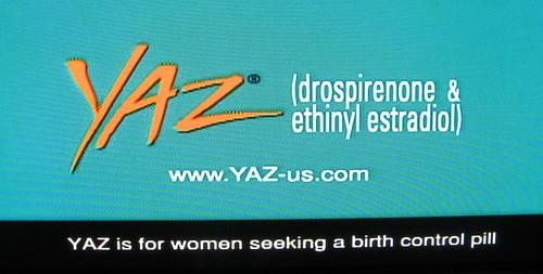 Yaz birth control pill ad screen grab