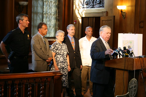 Mayor Ryan and others at a press event. Photo by H Brandon