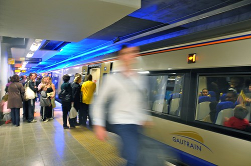 Gautrain arriving at Sandton Station