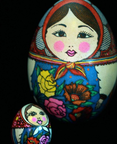 Matryoshka Pysanky in red and blue
