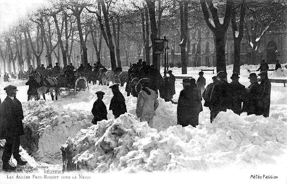 allées Paul Riquet à Béziers ensevelies sous la neige en janvier 1914