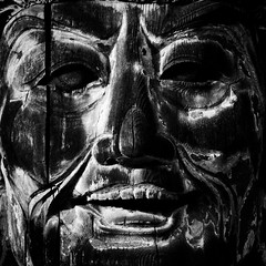. (lazy_lazy_dog) Tags: wood old light sculpture man art texture strange face japan closeup contrast dark temple time head buddha religion grain buddhism laughter form nara striking rare bizzare memorable