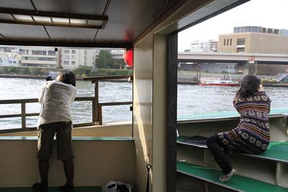 屋形船での撮影
