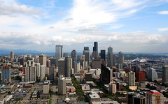 Seattle Skyline (MarkyBon) Tags: seattle street city sky usa skyline clouds america buildings washington skyscrapers pacific northwest needle states
