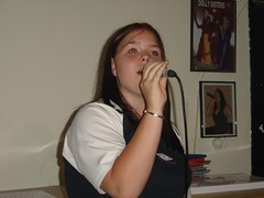 Jess on Karaoke (Central Auctioneers) Tags: music holiday adam bar spain stephanie karaoke mallorca majorca goodfellow magaluf balearics magalluf goodfellows