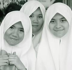 School girls waiting to see the Sultan of Brunei. (ndnbrunei) Tags: people blackandwhite bw 120 6x6 tlr film smile rollei mediumformat square kodak muslim hijab bn modesty mf kodakbw400cn brunei rolleicord bw400cn classicblackwhite 25faves aplusphoto rolleigallery ndnbrunei flowersofislam ilovemyrolleicord