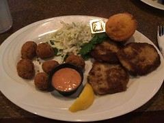 Crab cakes and hush puppies