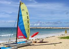 Catamaran (geog) Tags: ocean beach sailboat mexico hotel resort catamaran elcid quintanaroo