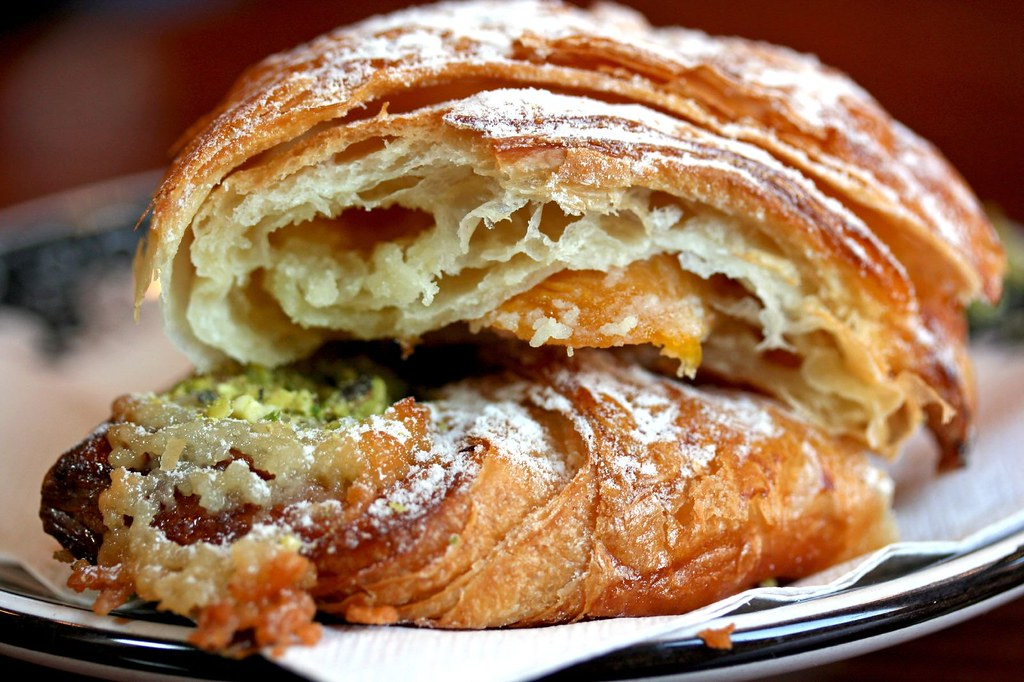 Apricot Pistachio Croissant in half