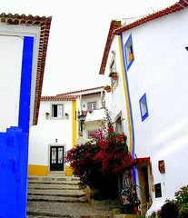 Facades (Sandra_R) Tags: flowers blue houses windows plants white portugal yellow architecture buildings outdoors photography flora doors colours exterior traditional details vivid facades foliage pots simplicity typical ornate stillness clearsky stylish urbanscenes nationalsymbols óbidos supershot anawesomeshot colorphotoaward