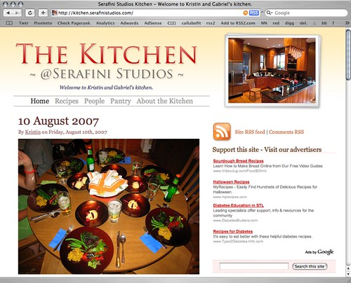 Screenshot of the Serafini Studios Kitchen website