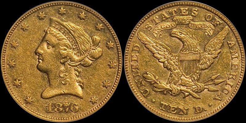 1876 $10.00 PCGS AU53 CAC
