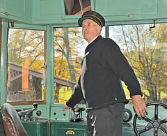 Walt Copeland, volunteer motorman at the Pennsylvania Trolley Museum, prepares car 78 of the Philadelphia and West Chester Traction Company for an afternoon journey, Arden, Pennsylvania, October 15, 2010 (Ivan S. Abrams) Tags: ivansabrams abramsandmcdanielinternationallawandeconomicdiplomacy ivansabramsarizonaattorney ivansabramsbauniversityofpittsburghjduniversityofpittsburghllmuniversityofarizonainternationallawyer