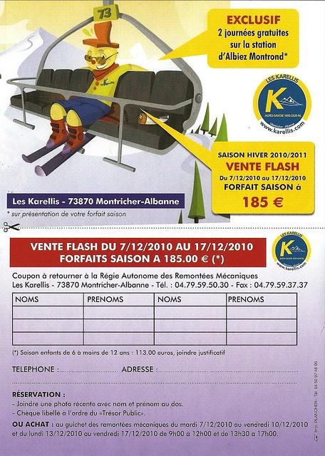 Fwd: [Marmotte73] Formulaire de contact par Voutier : vente flash de forfaits aux Kareelis