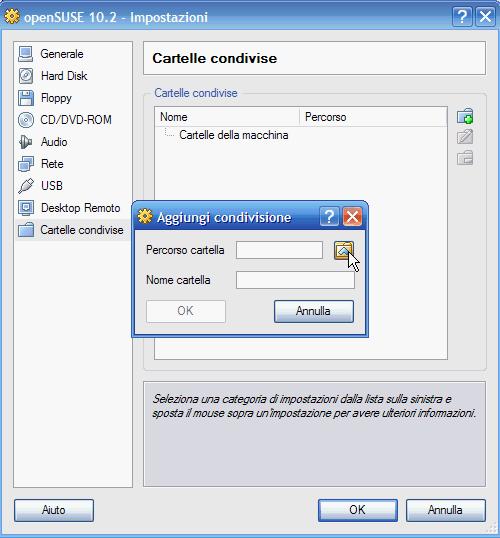 VirtualBox - Cartelle condivise: scelta o creazione nuova cartella da condividere