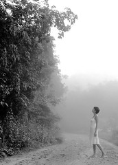 lost in the fog (AraiGodai) Tags: morning portrait people mist girl beautiful fog asian interestingness interesting olympus explore thai araigordai exploretopten raigordai araigodai