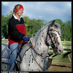 Trainer Leah Gyarmati and her flashy pony (Rock and Racehorses) Tags: morning blue ny eye appaloosa saratoga explore pony blueeye trainer coolanimals diamondclassphotographer flickrdiamond blueeyedhorses leahgyarmati